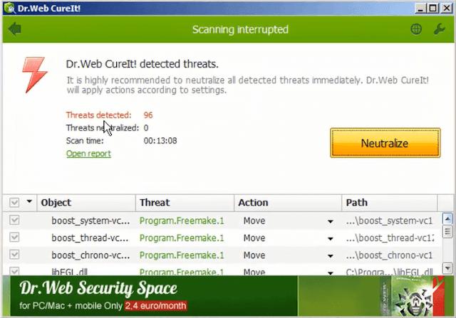 شرح برنامج Dr Web CureIt لتنظيف الكمبيوتر من برامج التجسس والبرمجيات الضارة والخبيثة
