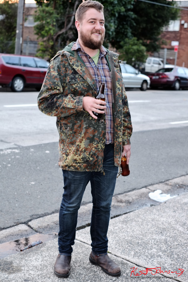 Camouflage Jacket, Plaid shirt, jeans and Blundstone Boots, 55 Sydenham Rd Marrickville..