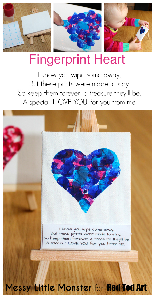 Fingerprint heart poem keepsake craft for babies, toddlers and preschoolers. An easy Mothers Day or Valentines Day activity idea with free printable poem. Use a mini canvas easel or make greeting cards.