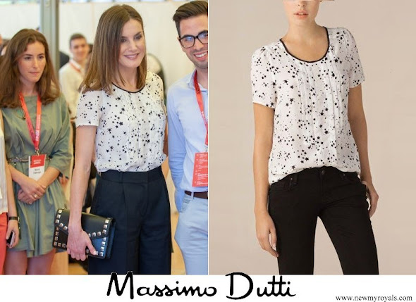 Queen Letizia wore Massimo Dutti Silk Shirt With Star Print