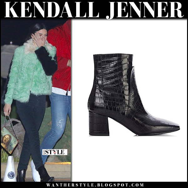 Kendall Jenner in green furry jacket and black ankle boots givenchy model street style january 1
