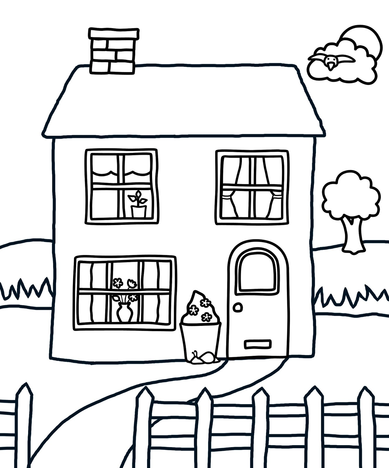 People and jobs coloring pages for kids houses colouring for Houses coloring pages