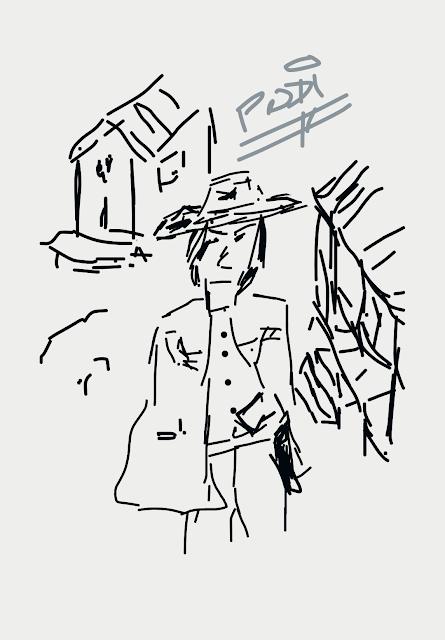 Caricatura de Clint Easwood en por un puñado de dólares