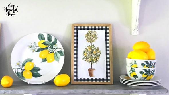 lemon plates bowls topiary buffalo check wall art