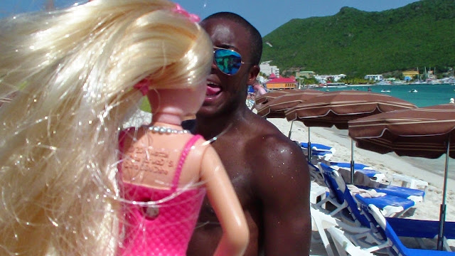 Kissing Barbie on the beach