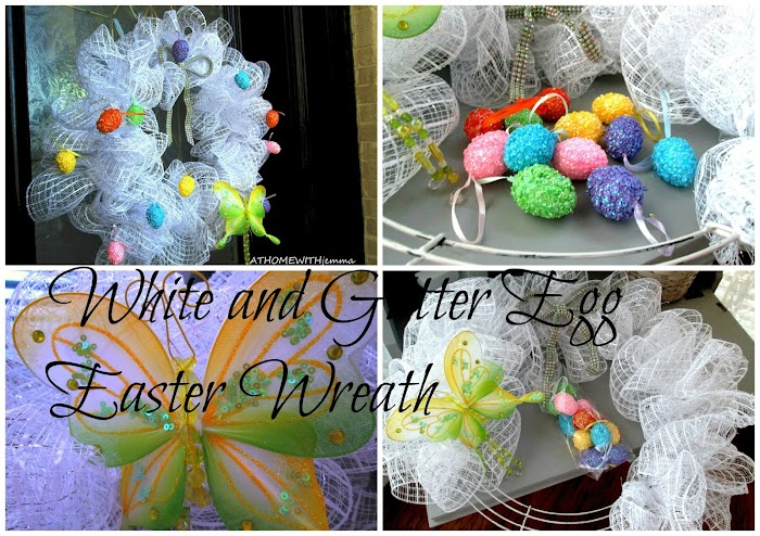 White and Glitter Easter Egg  Wreath