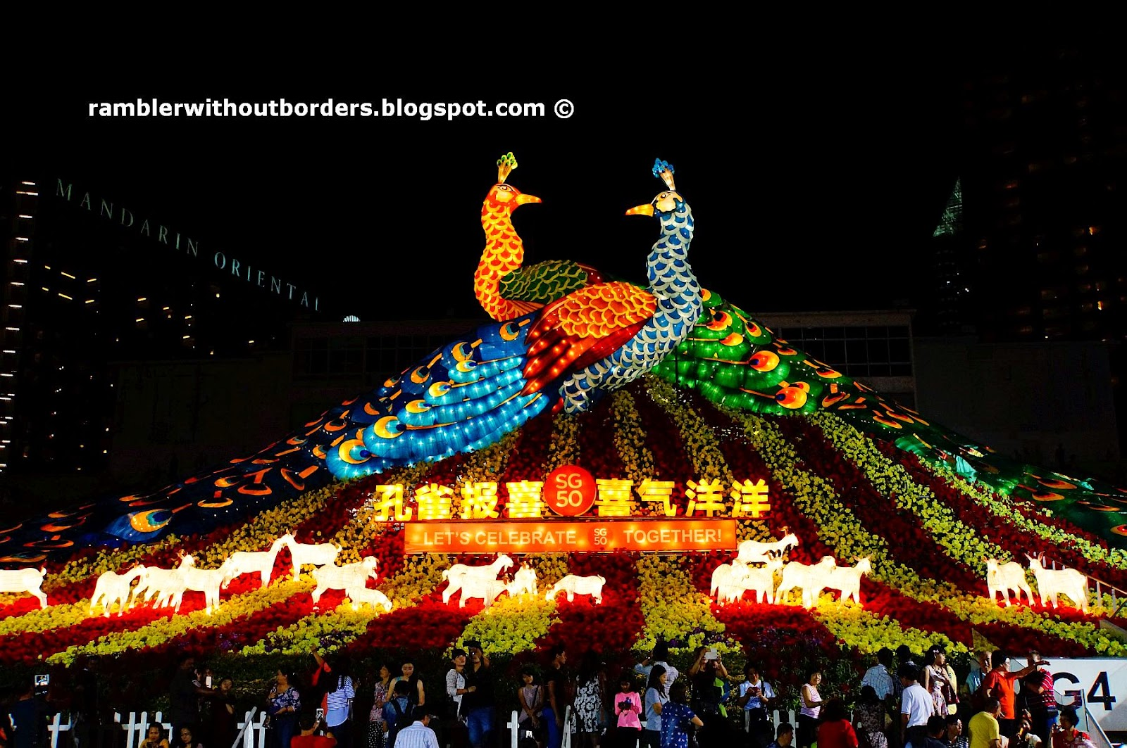 Peacock Couple and Goats, River Hongbao 2015, Singapore