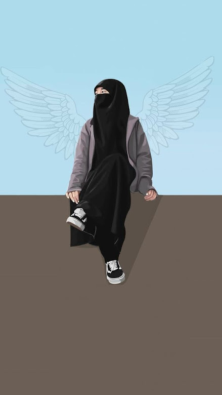 Kartun muslimah bercadar keren