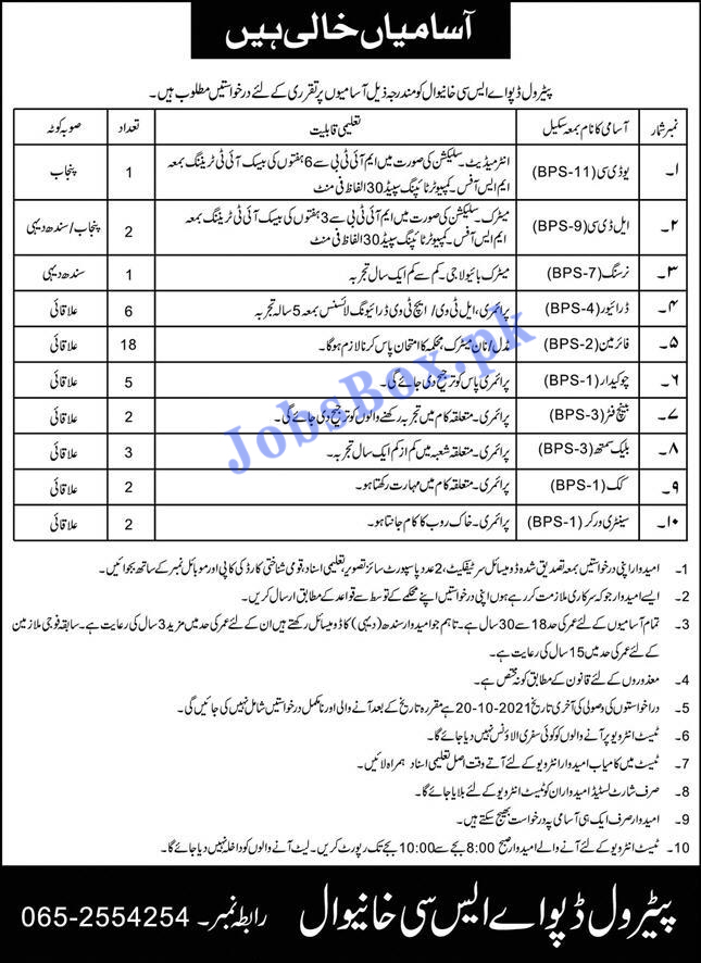 Pak Army Petrol Depot ASC Khanewal Jobs 2021 in Pakistan