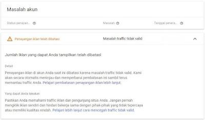 Cara Mengatasi Iklan Dibatasi AdSense - Traffic Tidak Valid