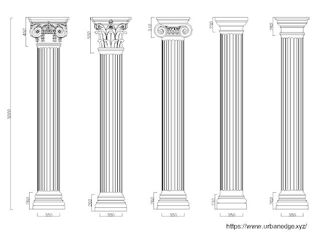 Classical columns elevation dwg models download - 5 free cad blocks