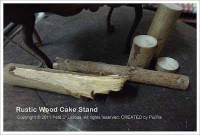 Petit D' Licious: DIY Rustic Wood Cake Stand