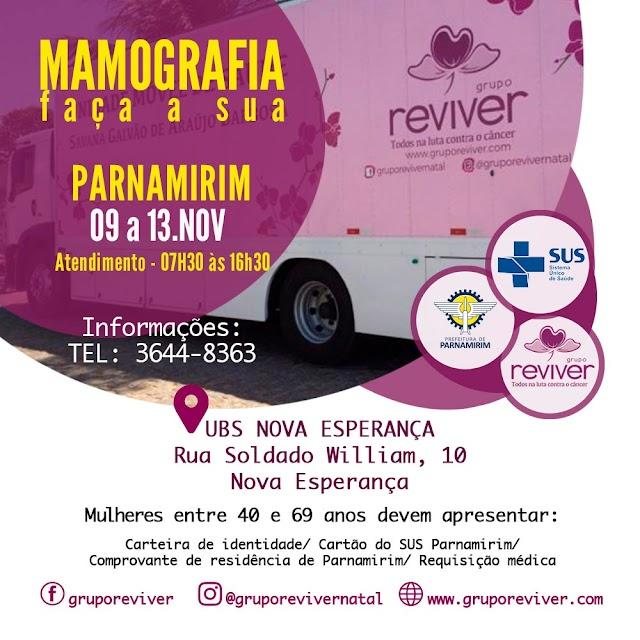 Grupo Reviver realiza mamografias na UBS Nova Esperança em Parnamirim