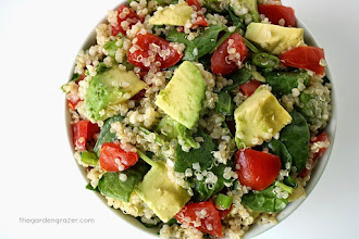 Salata vegana de quinoa cu avocado si baby spanac