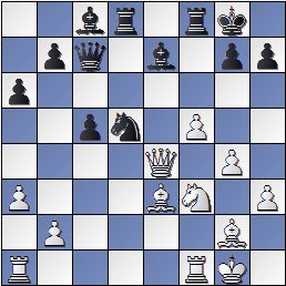 Partida de ajedrez Sanz-Pomar, Lugo 1955, posición después de 21.Dxe4