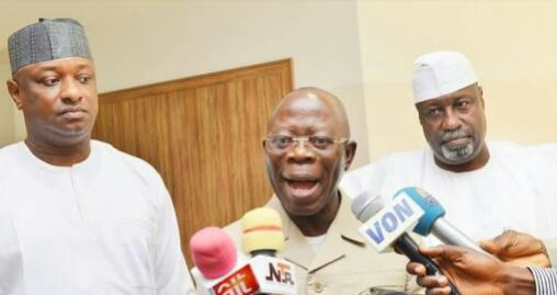 Oshiomhole Storms Aso Rock To Meet Buhari, Reacts To Defection