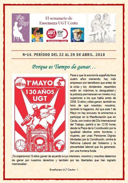 Semanario de Enseñanza UGT Ceuta nº 14. Período del 22 al 29 de abril