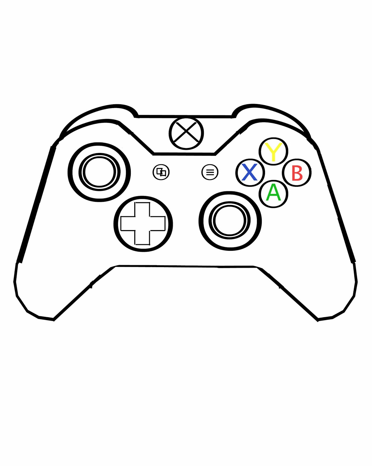 Xbox One Controller Drawing Sketch Coloring Page