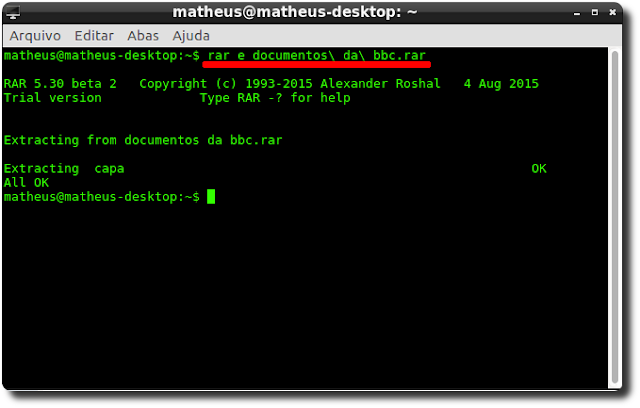 Descompactar rar no Lubuntu