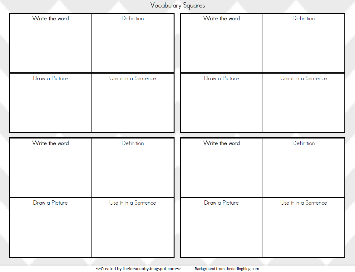 The Idea Cubby Vocabulary Squares