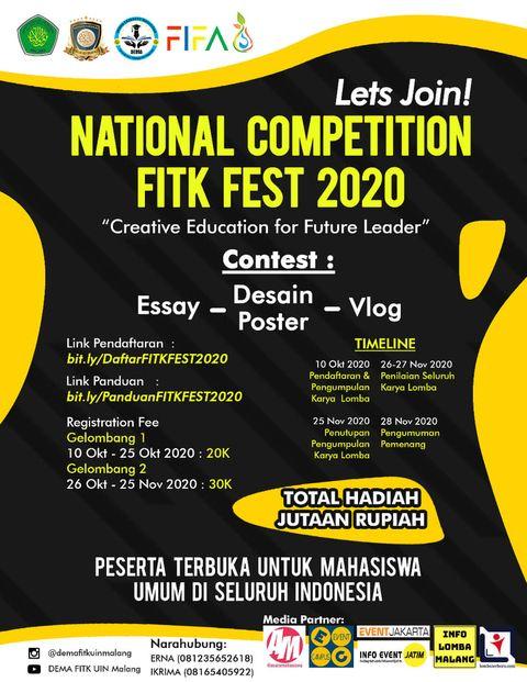 Lomba Desain Poster Nasional FITK Festival 2020 UIN Malang