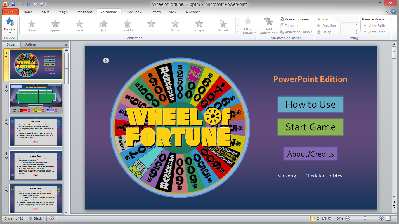 Tim 39 s slideshow games wheel of fortune for powerpoint for Wheel of fortune ppt template