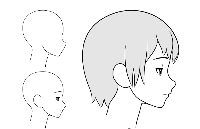 Gadis anime gambar tampilan samping sedih / lelah