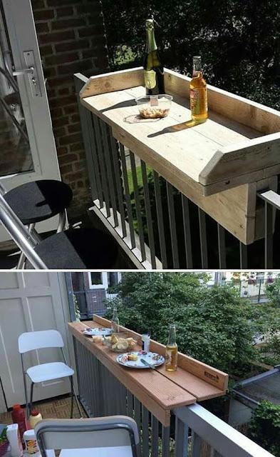 Mesa larga de madera para el balcón