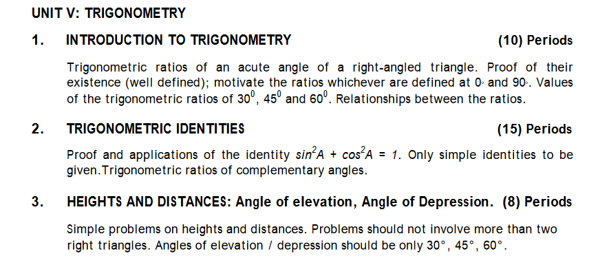 TRIGONOMETRY syllabus for CBSE Math
