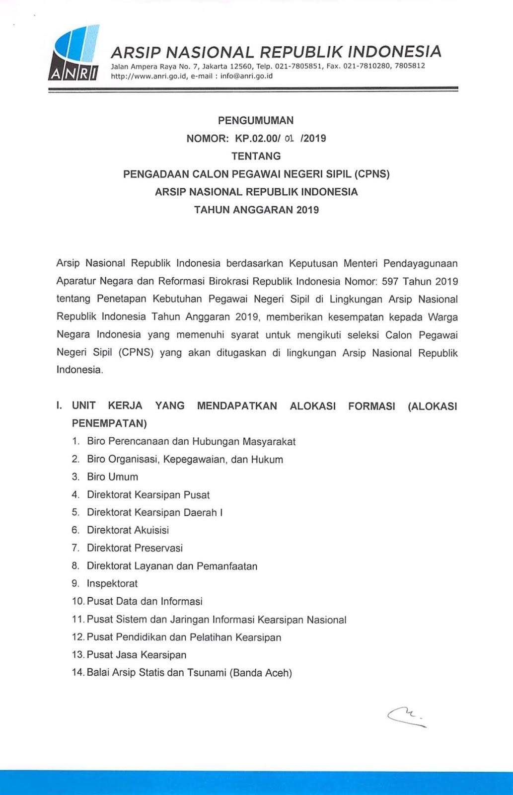 Lowongan Kerja CPNS Arsip Nasional Republik Indonesia Tahun Anggaran 2019 [71 Formasi]