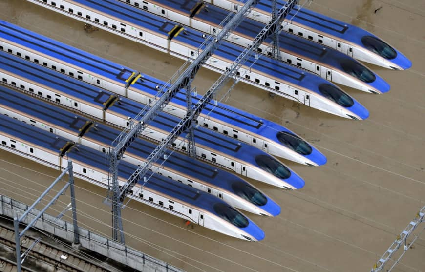 A shinkansen rail yard in Nagano partially submerged due to flooding caused by Typhoon Hagibis.