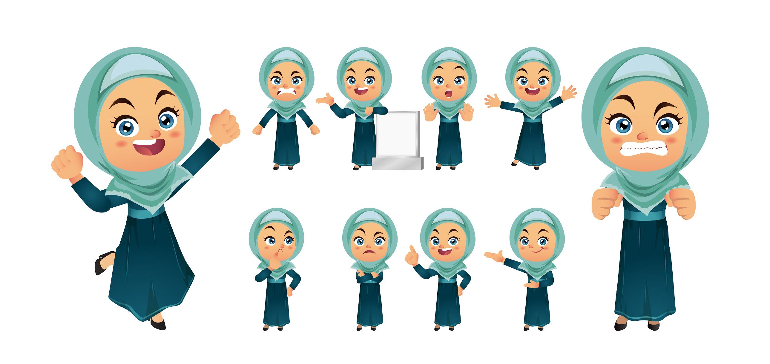 A collection of beautiful veiled Muslim children designs in Photoshop vector format