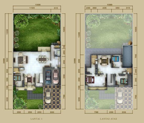 Denah rumah minimalis ukuran 15x30 meter 5 kamar tidur 2 lantai