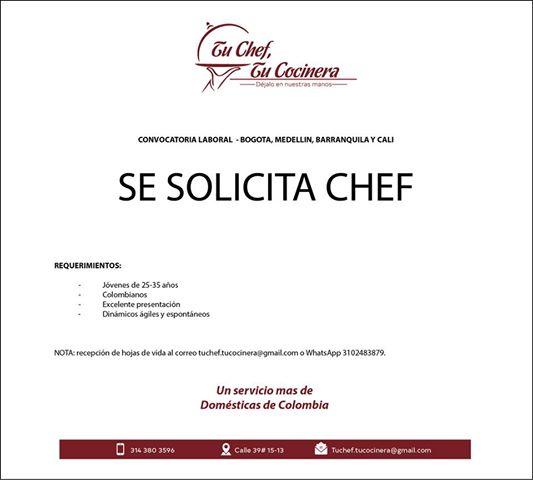 Oferta de Trabajo y Empleo en Cali como Chef