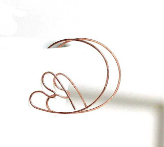 Copper Heart Open Hoop Earrings