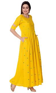 Best Arayna Women's Long Embroidered Rayon Kurti, Yellow