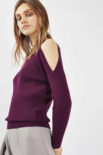 burgundy jumper cold shoulder, red cold shoulder jumper,