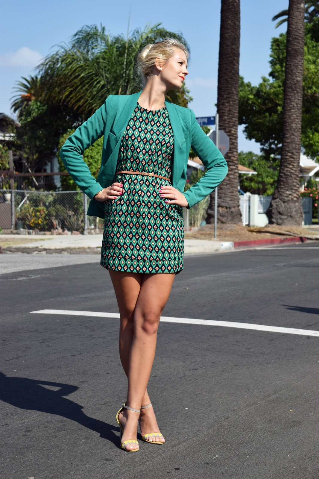 Green dress, green blazer, Chinese laundry heels, stiletto sandals, diamond pattern, pattern dress