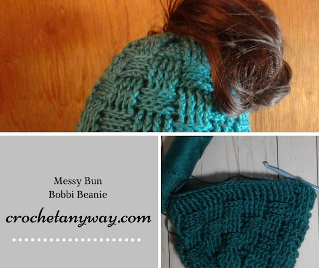Crochet messy bun basket weave beanie hat
