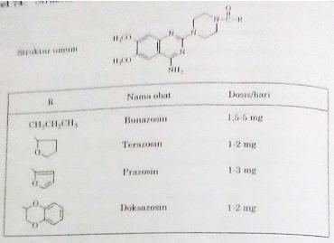 Doksazosin mesilat, prazosin HCl, terazosin dan bunazosin HCl.
