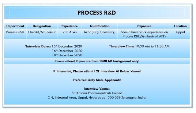 Sri Krishna Pharma | Walk-In Interview for Process R&D on 15, 16 & 18th Dec 2020