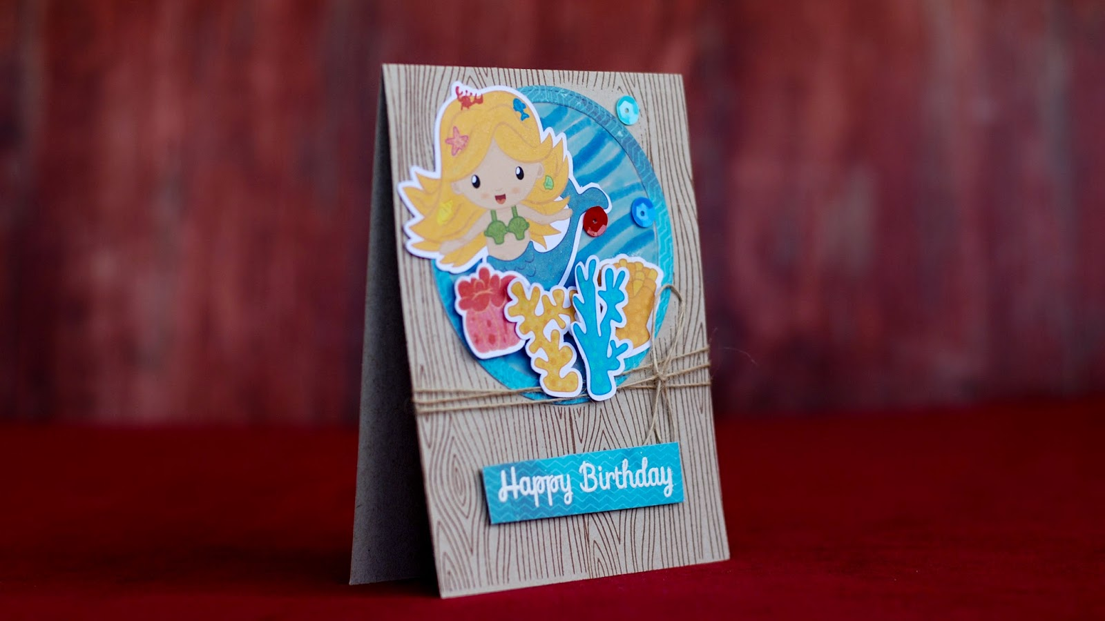 mermaid clip art - happy birthday card - under water