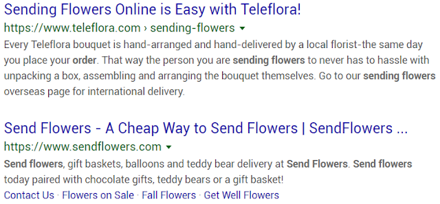 "Organic search results example for ""send flowers"""