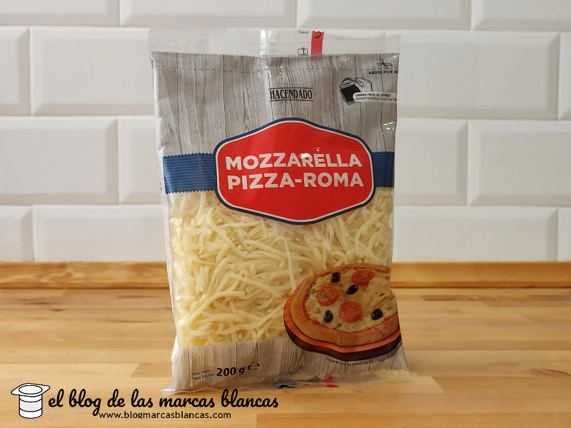 Queso rallado mozarella 'Pizza Roma' Hacendado (Mercadona) en El Blog de las Marcas Blancas