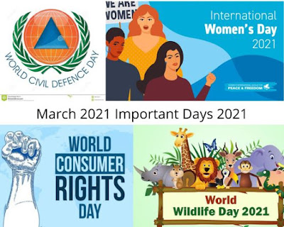MARCH 2021 IMPORTANT DAYS & EVENTS