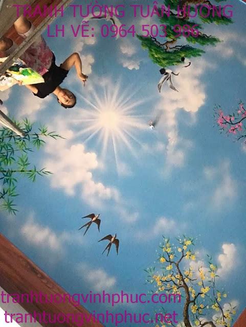 vẽ trần mây 3d tại bạch hạc vĩnh tường1
