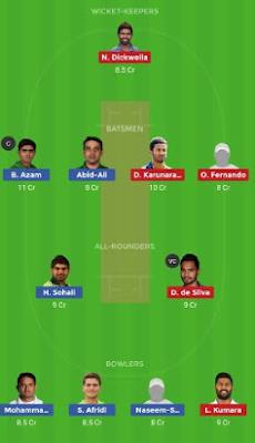 SL vs PAK Dream11 team