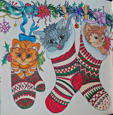 Adult coloring christmas kittens