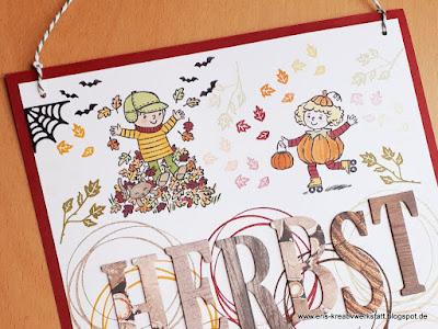 """Deko-Herbst-Schild / Aufhänger / Türhänger """"Seasons of fun"""" Stampin' Up! www.eris-kreativwerkstatt.blogspot.de"""