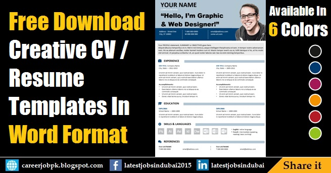 Free Download Editable Resume CV Template in MS Word Format - free download latest c.v format in ms word
